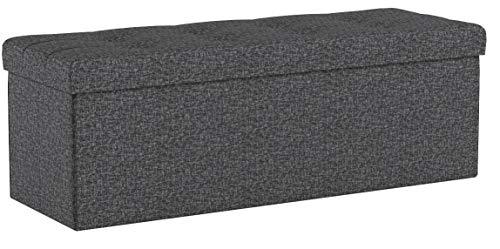 SONGMICS Sitzbank Sitztruhe max. statische Belastbarkeit 300 kg mit Stützrahmen aus Metall 120 L Dunkelgrau 110 x 38 x 38 cm LSF77K